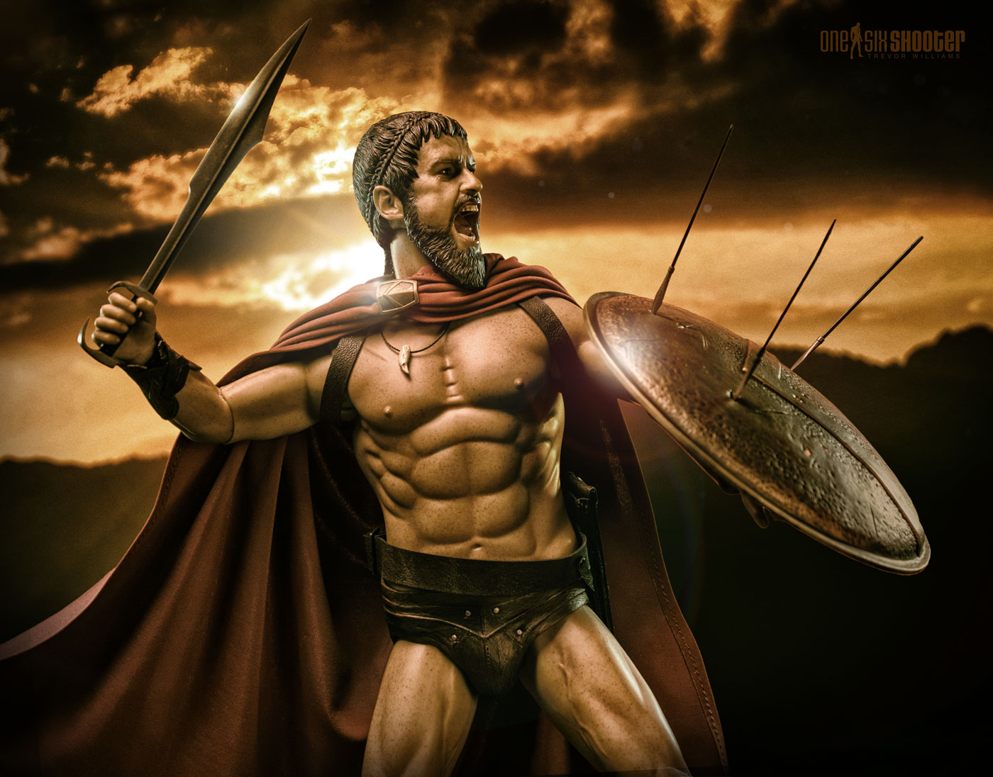 King Leonidas with sword and shield